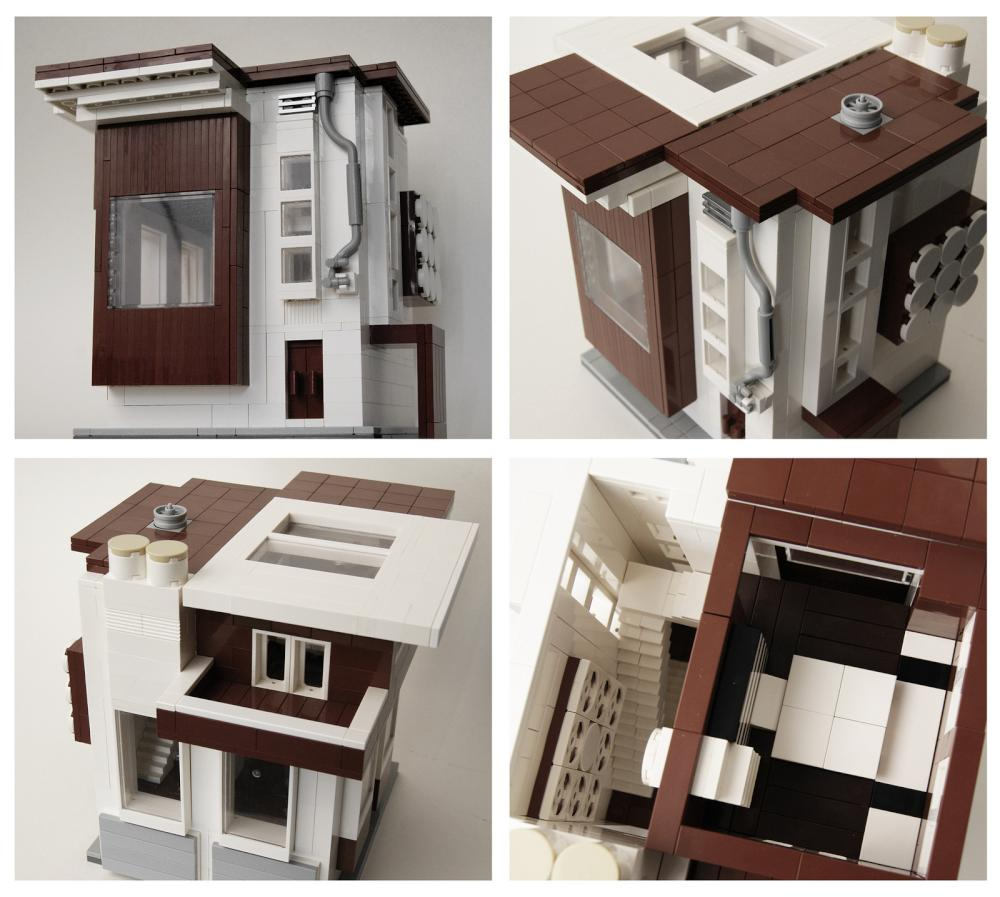 Moc of the week lego modern houses brickextra for Modern home construction techniques